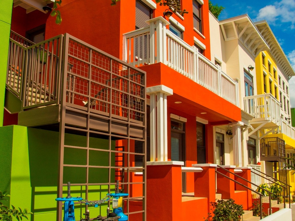 Exterior of brightly colored apartments in Ybor City