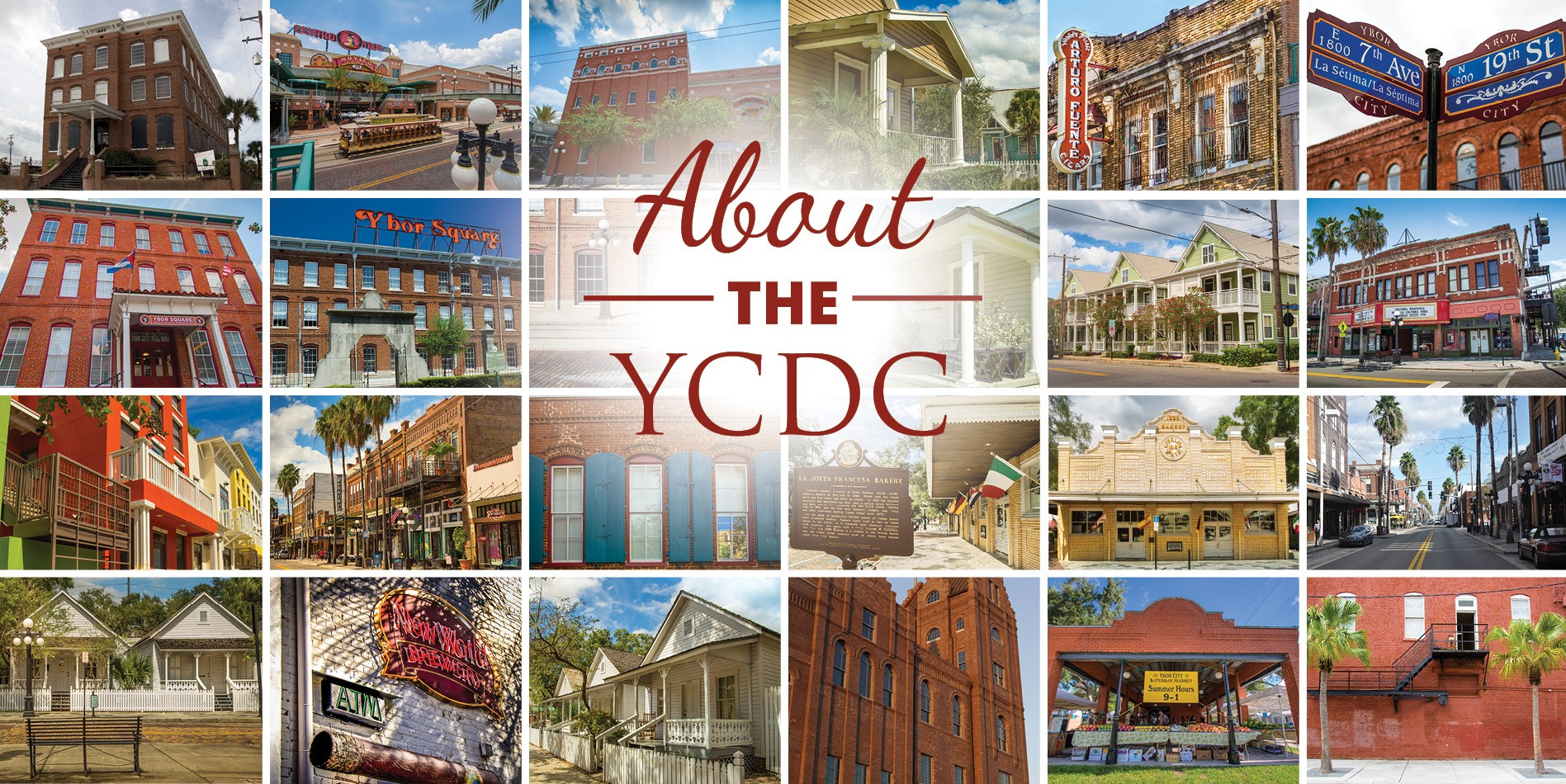 Collage of photos containing buildings of ybor city.