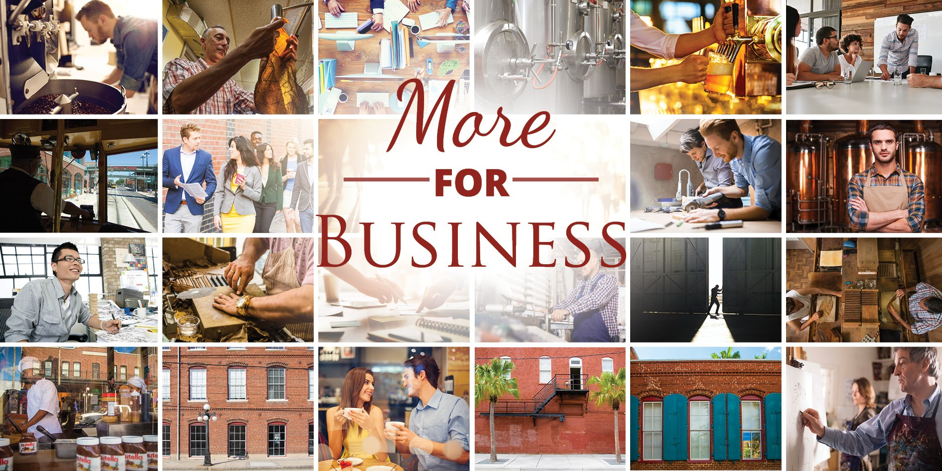 Collage of photos showing the businesses and workers of Ybor.