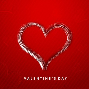 Valentines Day, Heart on red background