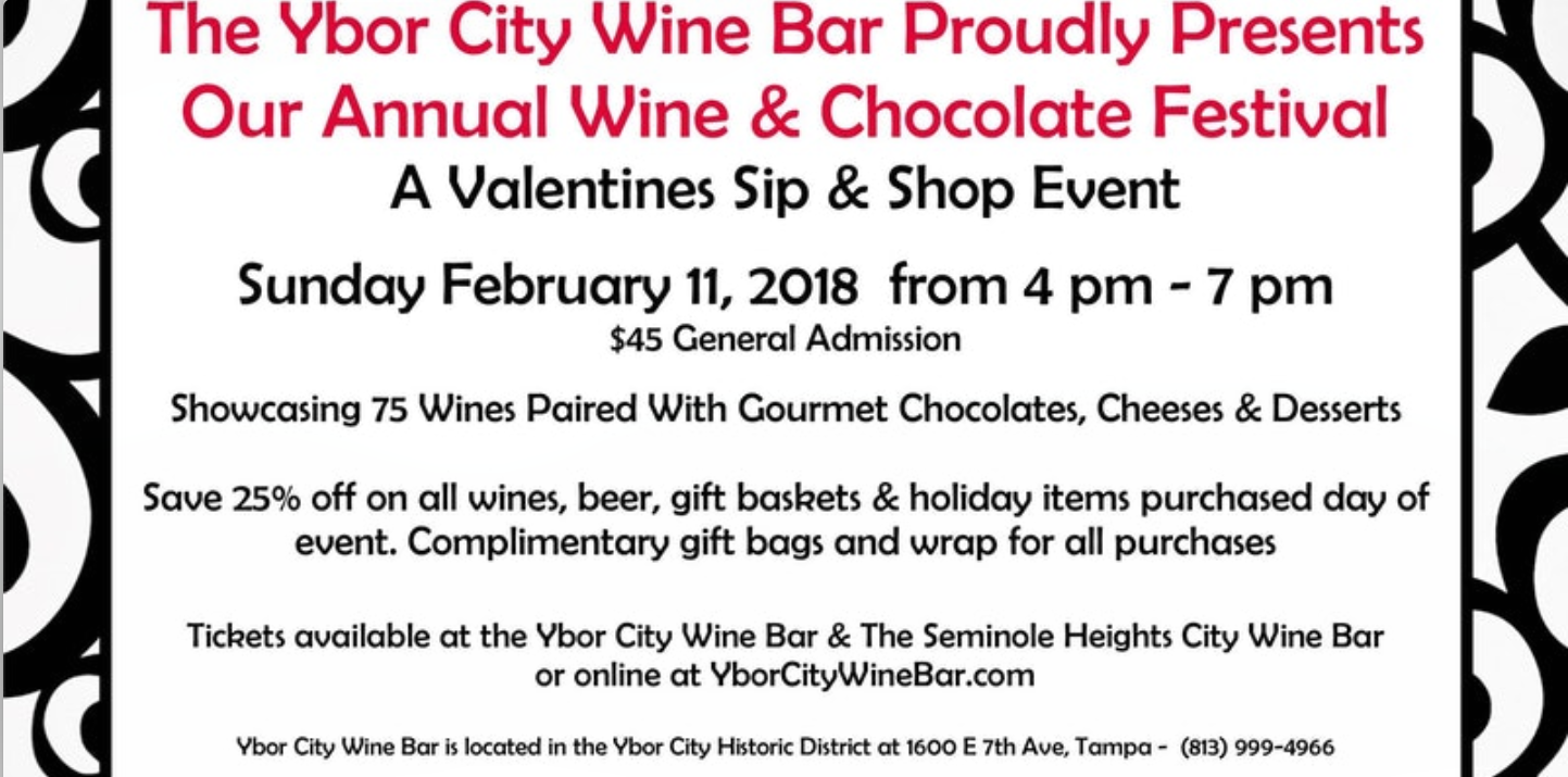 Wine and Chocolate Festival Poster - Taking Place at the Ybor City Wine Bar February 11, 2018
