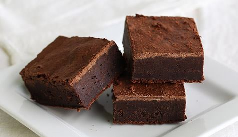 three brownies on a white plate