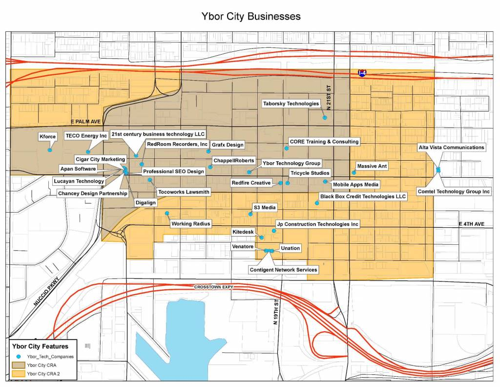 Map of Tech Companies in Ybor City