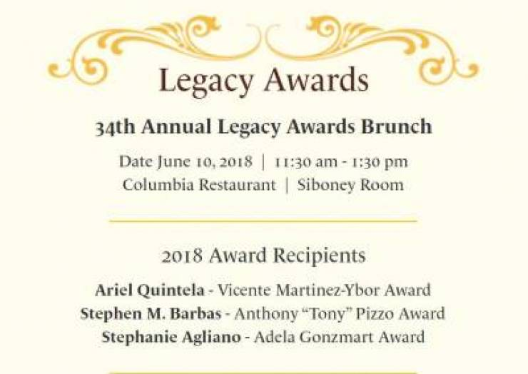Ybor City Museum Society Announces 2018 Legacy Awards Recipients