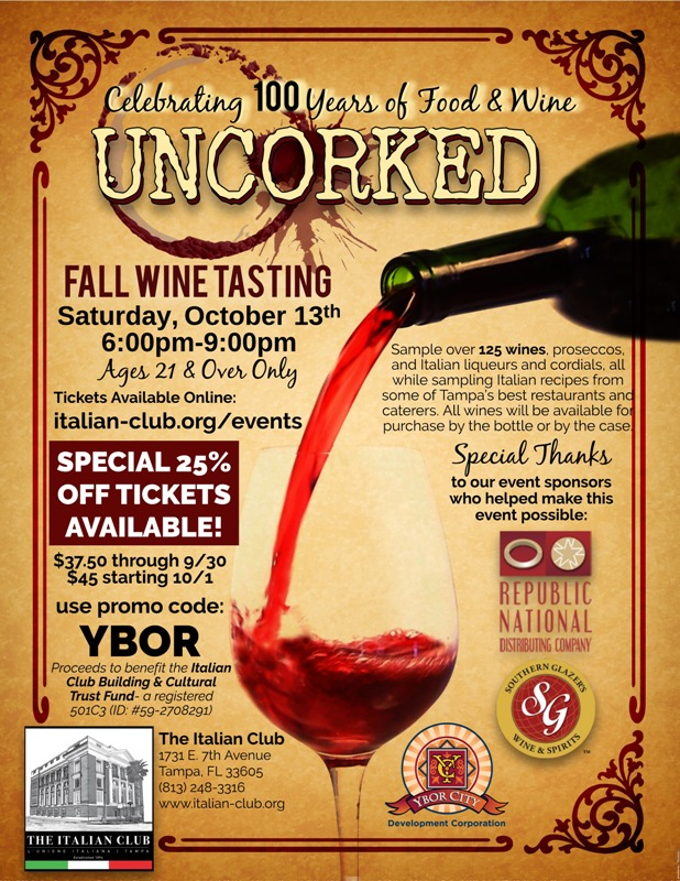 Ybor City Wine Tasting Event at the Italian Club to Celebrate 100 years