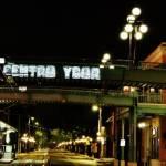 centro ybor bridge at night