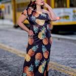 woman wearing pineapple dress