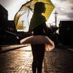 Ballerina holding an umbrella