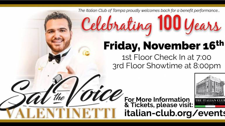 Sal Valentinetti in Concert at the Italian Club, 100th Year Anniversary Event