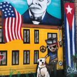dog in front of pirate mural