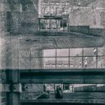 grainy photo of brick buildings