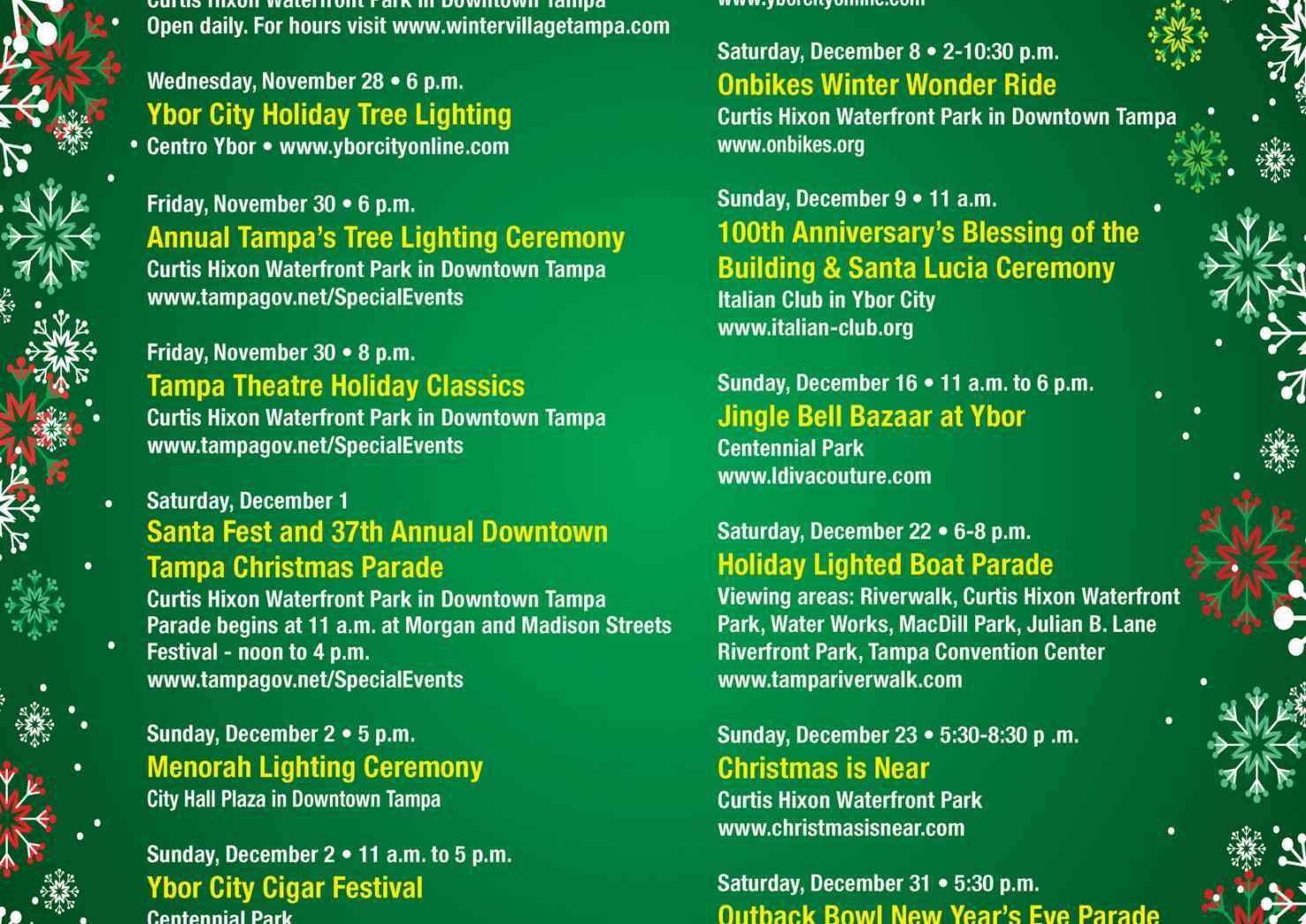 Holiday Season Event Lineup