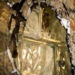 close up of broken glass