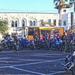 panoramic image of a group of cruiser motorcycles