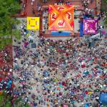 Aerial view of park event with people
