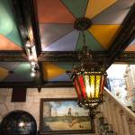 colorful ceiling pattern and antique light