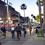 bicyclists at night in ybor