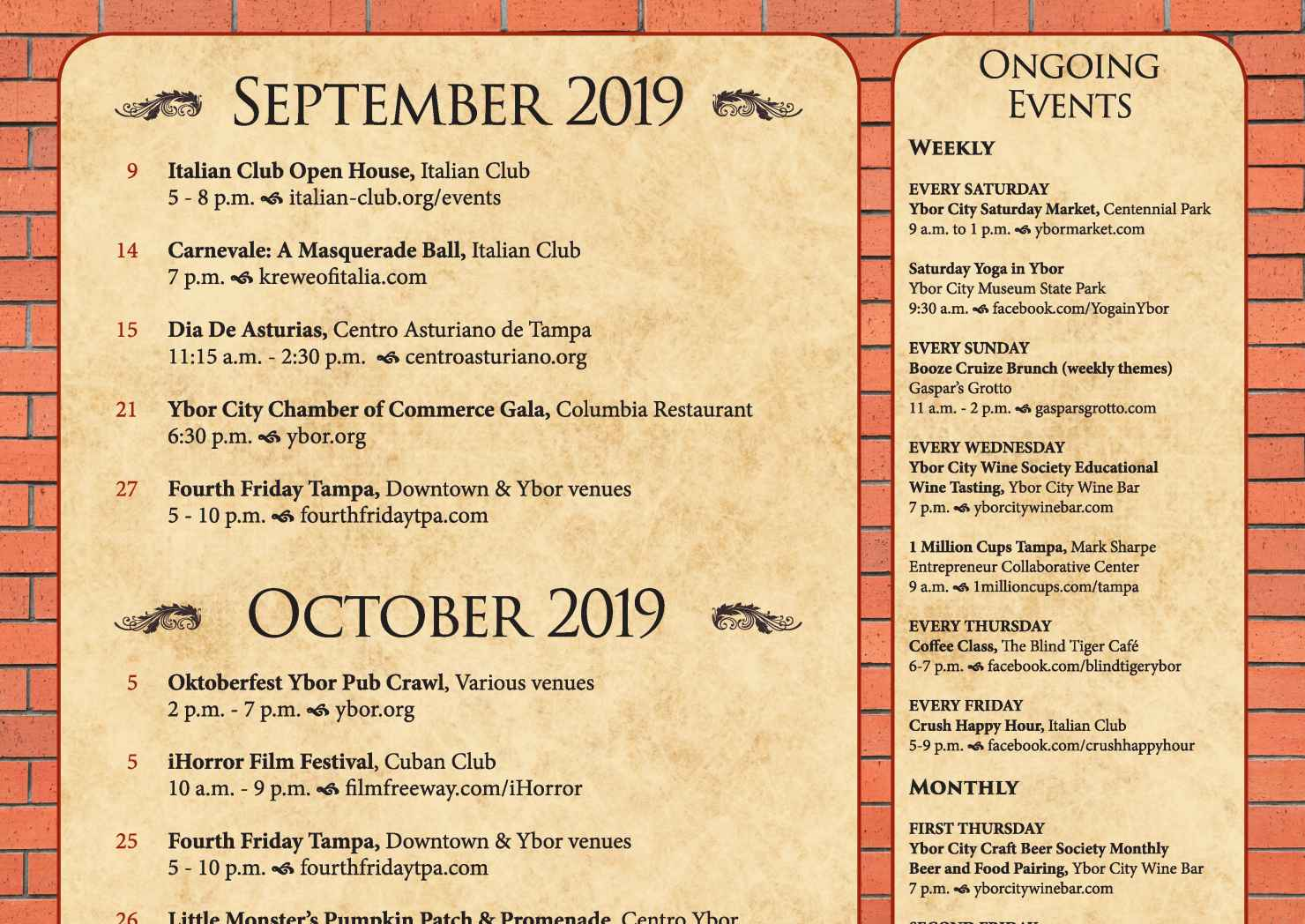 Ybor September & October Event Calendar