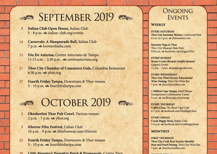 Ybor September & October Event Calendar